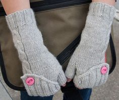 Free knitting pattern fingerless gloves with hidden fold down button that gives added warmth