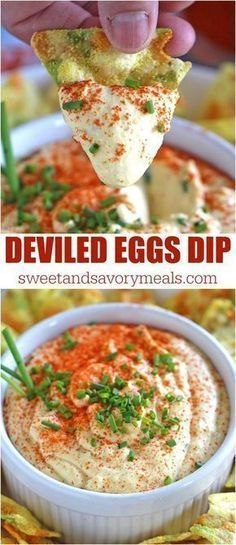 Deviled Eggs Dip with paprika and chives is a great way to use leftover eggs. Cr… Deviled Eggs Dip with paprika and chives is a great way to use leftover eggs. Creamy, just a bit spicy, this is an easy and delicious appetizer. Appetizer Dips, Yummy Appetizers, Appetizer Recipes, Keto Recipes, Cooking Recipes, Vegemite Recipes, Healthy Dip Recipes, Best Party Appetizers, Party Dip Recipes