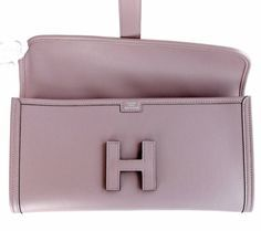 e4168abb34c7 HERMES Glycine Lilac Jige Swift Elan Leather Clutch 29cm So Pretty