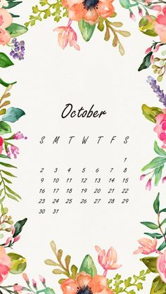 Wallpaper iPhone October 2016 calendar
