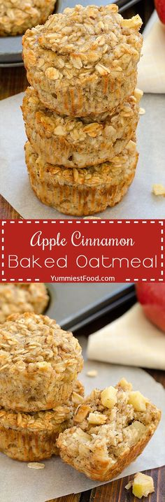 Healthy Snacks For Kids Apple Cinnamon Baked Oatmeal - moist, delicious, healthy, gluten free breakfast, perfect way to start your day! Apple Cinnamon Baked Oatmeal is the best healthy snack you've ever tried! Brunch Recipes, Baby Food Recipes, Breakfast Recipes, Dessert Recipes, Cooking Recipes, Breakfast Healthy, Breakfast Muffins, Oatmeal Muffins, Drink Recipes