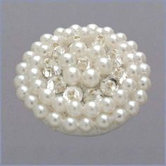 2 Dozen Round Crystal and Pearl Buttons (24)