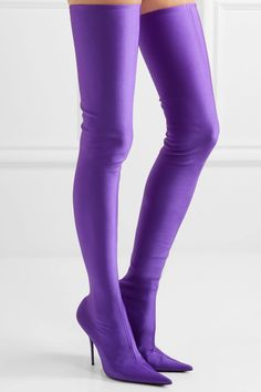 "e8053fbfdf8 Balenciaga ""Knife"" Thigh-High Boots in Purple thigh high boots outfit 2017"