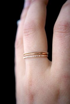 SOLID Rose Gold Mixed Texture stacking ring set 14k by hannahnaomi