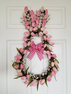 Easter wreath easter bunny wreath easter decor bunny wreath pink tulip wreath spring wreath 60 outdoor easter decorations ideas which are colorful and egg stra special Diy Spring Wreath, Spring Door Wreaths, Easter Wreaths, Diy Wreath, Holiday Wreaths, Easter Art, Easter Crafts, Easter Bunny, Diy Osterschmuck