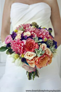 Appropriate for my summer wedding. Billy Button/Blushing Bride/Dahlia/Rununculus/Rose/Succulent