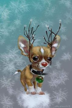 Chihuahuas Chihuahua Puppies, Cute Puppies, Cute Dogs, Reindeer Chihuahua, Christmas Animals, Christmas Dog, Merry Christmas, Illustration Noel, Illustrations