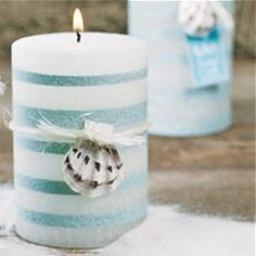 beach wedding candle with shell accent