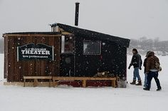 They have such fun in Minnesota; they build Ice monuments honoring socialist dictators and best of all, they know how to enjoy winter. Ice Fishing Huts, Fishing Shack, Tiny House Cabin, Tiny House Design, Ice Shanty, Winter In Florida, Temporary Structures, Ice Houses, Dark House