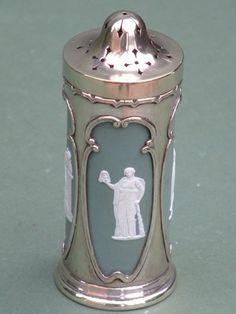 Silver Plate Sugar Shaker Wedgwood Jasperware Liner