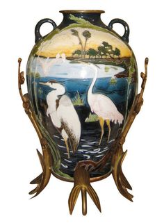 This fabulous majolica (earthenware) vase, circa 1900, comes from the factory of Julius Dresser, based in the former Austrian town of Bela, Czech Republic, near the Polish border. Designed and decorated in the Aesthetic style, it features the raised decorations of cranes in a marsh landscape, with bronze mounts modeled as water plants. | eBay!