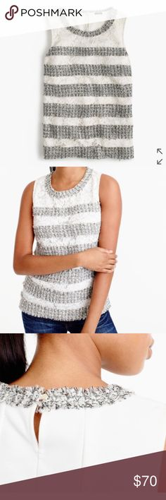 "NWT J.Crew fringe shell in tweed and lace Brand new with tags, size Large, Ivory Metallic. Body length: 23 3/4"". Overall Fit  true to size  PRODUCT DETAILS This holiday-party-ready top is all about the details, namely the deliberate placement of each tweed and lace stripe, the stretchy ponte back and the hidden, flattering darts at the chest.  Viscose/polymide front lace, cotton/polymide back panel. Dry clean. Import. J. Crew Tops Tank Tops"