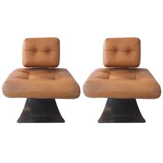 Pair of Armchairs by Oscar Niemeyer, Fireside Brazilia ON1, circa 1971 | See more antique and modern Armchairs at https://www.1stdibs.com/furniture/seating/armchairs