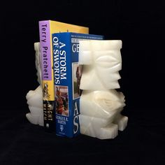 "Large 8"" Carved Stone Aztec Style Bookends"