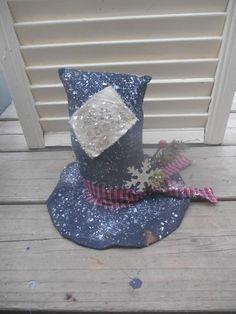 Primitive Grungy Snowman Hat Table Shelf Sitter Let It Snow Handmade Winter #NaivePrimitive