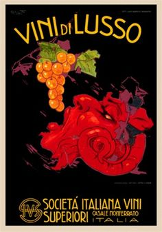 Vini Di Lusso by Codognato 1926 Italy - Beautiful Vintage Poster Reproductions. This vertical Italian wine and spirits poster features a red horned head eating orange grapes against a black background. Giclee Advertising Print. Classic Posters
