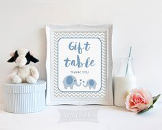 Gift Table Party Sign, Blue Elephant Baby Shower Sign, Grey Chevron, 2 Sizes, Baby Boy, DIY Printable, INSTANT DOWNLOAD