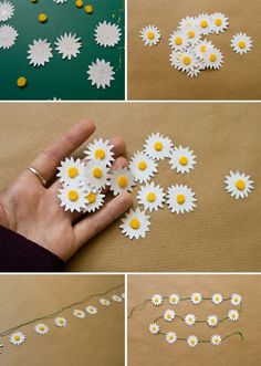 Inspiration gift wrap: DIY paper daisy chain from Pointless Pretty Things. Paper Flowers Diy, Flower Crafts, Diy Paper, Paper Art, Paper Crafts, Origami Flowers, Handmade Flowers, Diy And Crafts, Crafts For Kids
