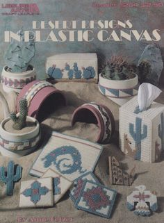 Desert Designs, Leisure Arts Plastic Canvas Pattern Booklet 1264 Southwest Style Cactus Coyote Magnets Coasters & More