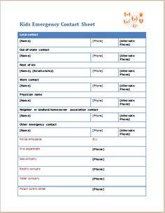 Kids Emergency Contact Sheet DOWNLOAD at http://www.wordexceltemplates.com/kids-emergency-contact-sheet/