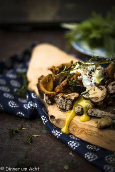 Forest mushrooms on brown bread