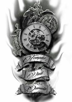 Time conquers all pocket watch tattoos, pocket watch tattoo design, clock tattoo sleeve, Forearm Tattoos, Body Art Tattoos, New Tattoos, Tattoo Drawings, Sleeve Tattoos, Tattoos For Guys, Tatoos, Sketch Tattoo, Skull Tattoos