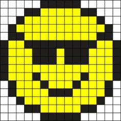 Cool Face Perler Bead Pattern / Bead Sprite- Moon_ echo – My sunglasses Pony Bead Patterns, Kandi Patterns, Hama Beads Patterns, Beading Patterns, Cross Stitch Patterns, Perler Bead Art, Perler Beads, Pixel Art Emoji, Pixel Art Minecraft