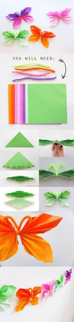 DIY : Folded Paper Butterfly by Hairstyle Tutorials - KITA/ Krippe Basteln,Malen, Spielen - Origami Kids Crafts, Summer Crafts, Crafts To Do, Easter Crafts, Craft Projects, Arts And Crafts, Craft Tutorials, Butterfly Party, Butterfly Birthday