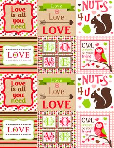 Free Printable Valentines Day labels part of a collection.