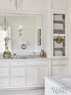 Inspirational Spaces - Bathroom Design Home Tour: Traditional Holiday Charm in Atlanta Mold In Bathroom, Large Bathrooms, White Bathrooms, Bathroom Canvas, Concrete Bathroom, Beige Bathroom, Bathroom Towels, Bathroom Furniture, Bathroom Renovations