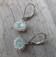 Aqua Chalcedony Earrings- Silver Chalcedony Earrings- Aquamarine Earrings- Blue Earrings- Stone Earrings on Etsy, $219.00