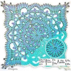 Fall in love with the motif . crochet open and free designs Crochet Mandala Pattern, Granny Square Crochet Pattern, Crochet Diagram, Doily Patterns, Afghan Crochet Patterns, Crochet Squares, Crochet Chart, Thread Crochet, Diy Crochet