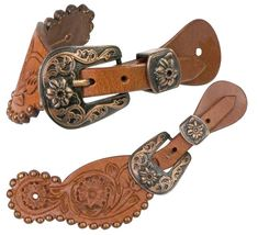 Dark Oil Leather Spur Straps Adult Youth Cross Cutout Hair Cowhide Inlay