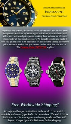 Newsletter: Invicta Watches On Sale: 8% Discount Coupon Inside!! - Ingenious and spirited, the Invicta watch sale returns! The Invicta brand sets great expressions by balancing technicalities with aesthetics well within such restrained price points, making them a classy, swish, upper-class cluster of functional accessory. We thought about it and made it sure you get the same at an additional 8% slash on the already discounted price. Grab the models that you missed the last time this sale was…