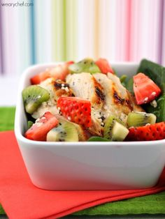 Strawberry Spinach Salad with Chicken and Kiwi - A light, healthy, delicious dinner!