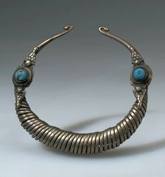 Afghanistan | Necklace; coiled metal (silver) and glass | Purchased 1963, Kabul
