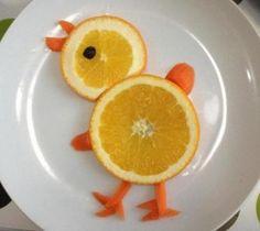 Cute chick fruit platter
