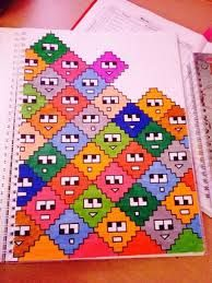 This cute pattern might work well in X-stitch Graph Paper Drawings, Graph Paper Art, Easy Drawings, Pixel Art, Pixel Drawing, Drawing Drawing, Drawing Ideas, Bullet Journal Inspiration, Doodle Art