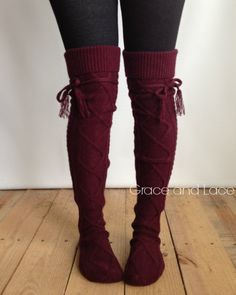 Alpine Thigh High Slouch Sock WINE thick cable by GraceandLaceCo