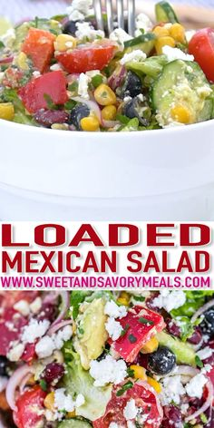 Mexican Salad with Lime Dressing Recipe Sweet and Savory Meals is part of Mexican salads - Mexican salad is a great addition to your summer menu with its rich combination of flavors from Mexican staples beans, avocados, tomatoes, and spices! Mexican Salad Recipes, Mexican Salads, Healthy Salad Recipes, Soup Recipes, Cooking Recipes, Mexican Salad Dressings, Savory Salads, Clean Eating Snacks, Recipes