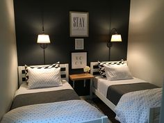 Small guest room with two twin beds.                                                                                                                                                                                 More