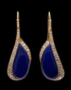 Estate 18kt Lapis Diamond Earrings