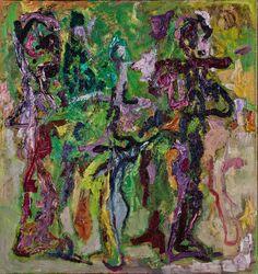 Zwei Figuren zwischen Grün 1991 Öl auf Leinwand 85 cm  x 80 cm Druck  // Michaela Helfrich Galerie