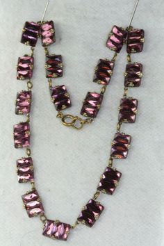 VTG ANTIQUE ART DECO CZECH PURPLE MIRROR GLASS NECKLACE