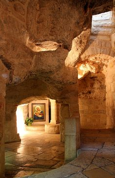 """The Milk Grotto (or """"Grotto of the Lady Mary"""") is where Mary is said to have nursed Jesus during the Slaughter of the Innocents"""