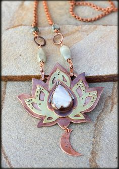Lotus Necklace with moonstone: Copper Necklace by AnniamAeDesigns