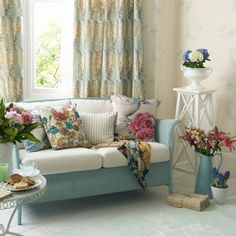 Shabby Chic Cottage Decor | country-style-cottage-shabby-chic-floral-spring-summer-look-decor-aqua ...