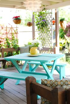 Turquoise Picnic Table (my backyard paradise). Love this picnic table painted in turquoise-would be cute with a hole drilled down the center for an umbrella ( yellow would be cute) picnic table ideas Outdoor Tables, Outdoor Spaces, Outdoor Living, Outdoor Decor, Outdoor Paint, Painted Picnic Tables, Painted Patio Table, Painted Chairs, Backyard Swings