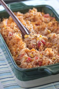 My Green Chilie Chicken Enchilada Rice Bake is the perfect weeknight dinner and works great as a make ahead freezer meal!