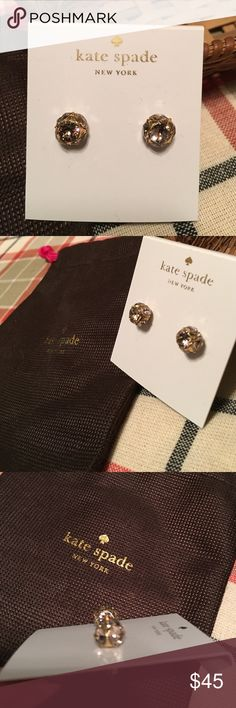 Kate spade studs pink gems NWT Kate spade earrings. Stud gem earring with multiple pink gems per earring. New with tags. Comes with free gift bag. Matches the bracelet for sale. kate spade Jewelry Earrings